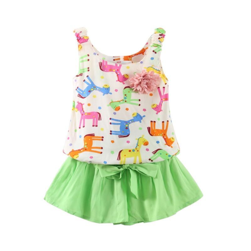 2-Piece Colorful Horse Flower Trim Tank Top Matching Shorts Outfit