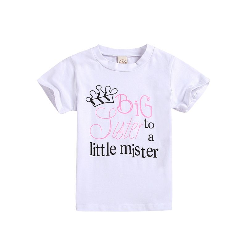 Big Sister to a little mister Letters Print T-shirt