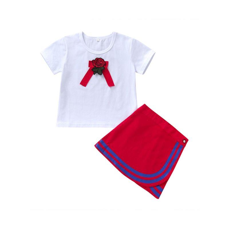 2-Piece Fashion Toddler Little Girl Flower T-shirt & Skirt Set