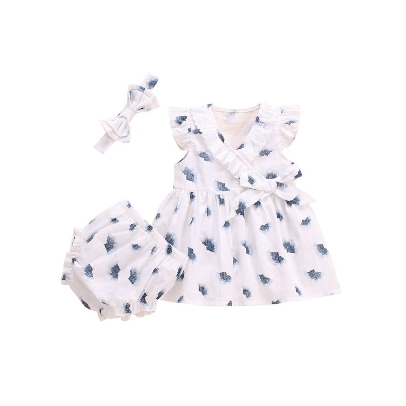 3-Piece Baby Girl Outfits Lace Trim Flutter Sleeve Top+Ruffle Shorts+Headband