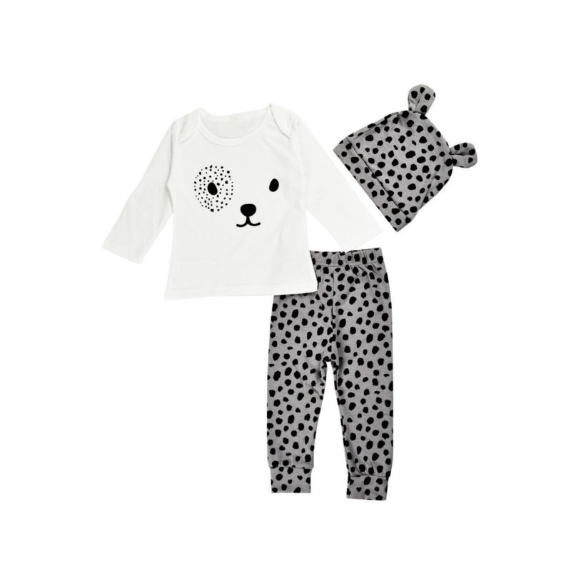 3-Piece Leopard Print Baby Outfit Pullover+Pants+Hat
