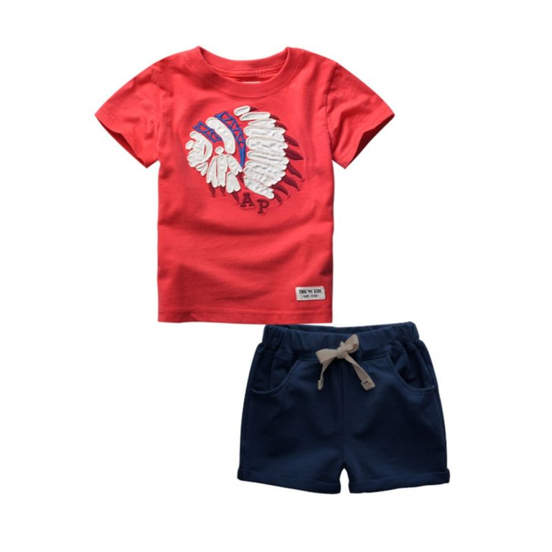2-Piece Indian Head Print Tee Matching Solid Color Pull-on Shorts Outfit