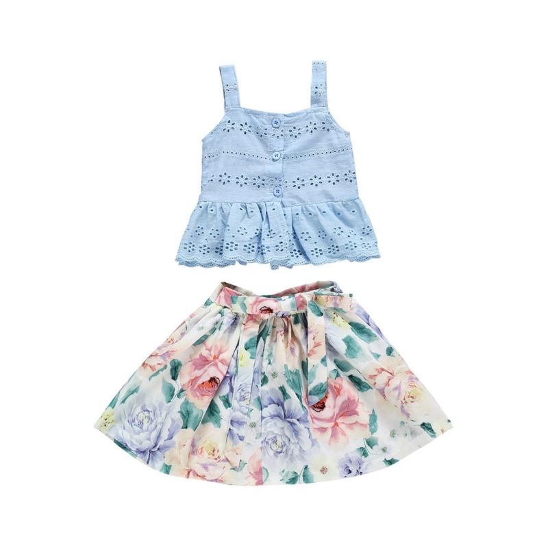 2-Piece Pierced Suspender Top Matching Flower Skirt Outfit