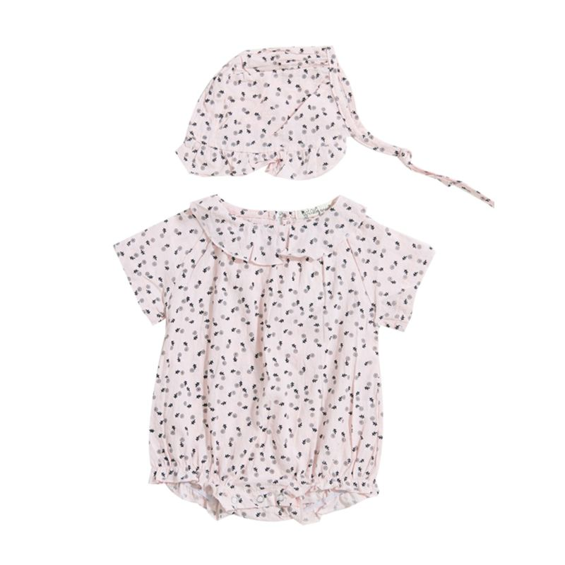 2-Piece Floral Ruffle Baby Girl Romper Matching Hat