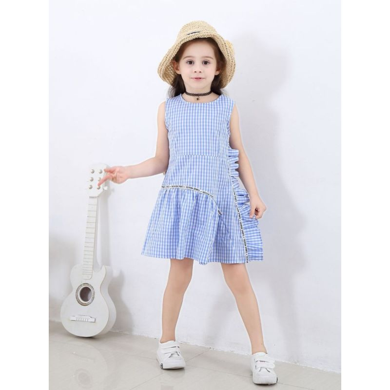 Ruffle Plaid Sleeveless Summer Dress