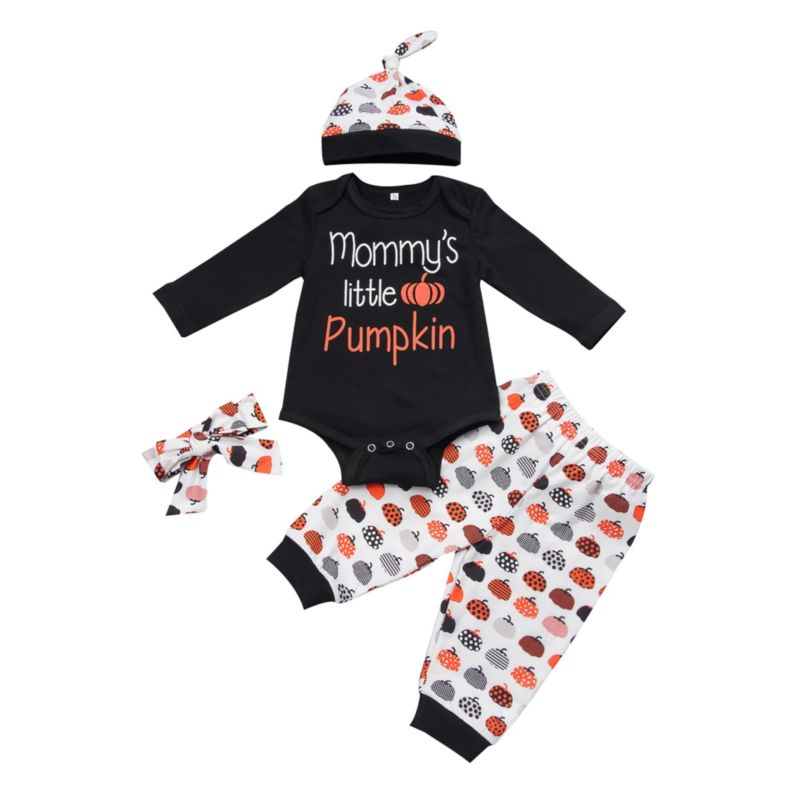 4-Piece Baby Halloween Clothes Outfit  Mommy's Little Pumpkin Bodysuit+Pants+Hat+Headband
