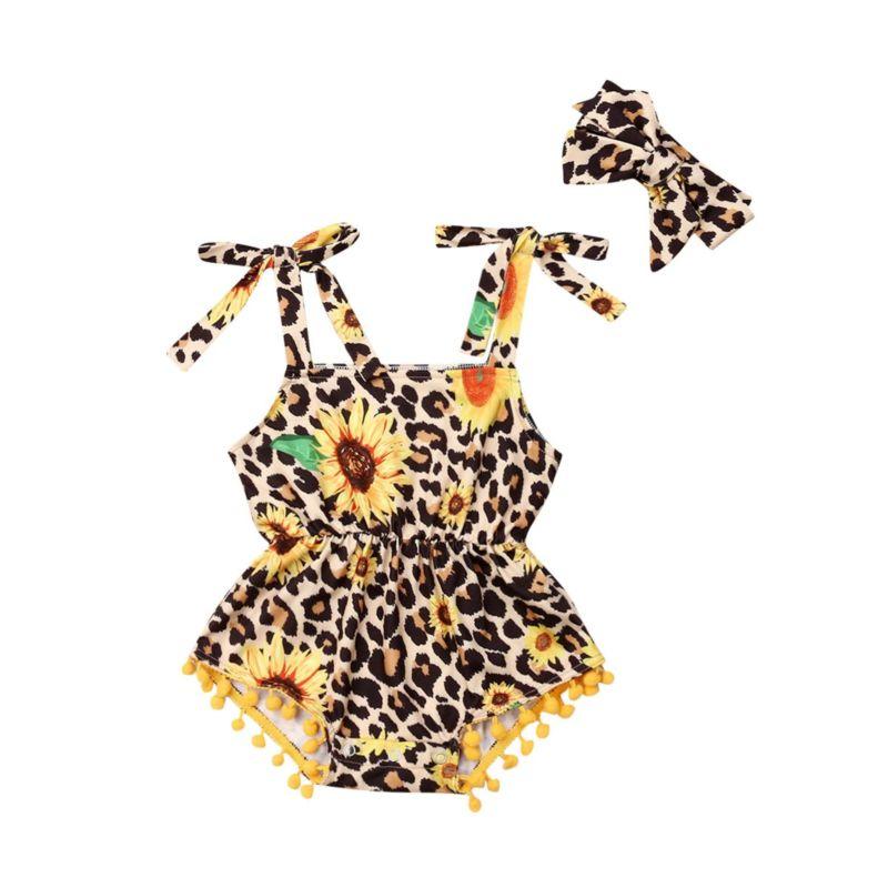 2-Piece Fashion Baby Girl Leopard Sunflower Print Pom Trim Romper+Headband