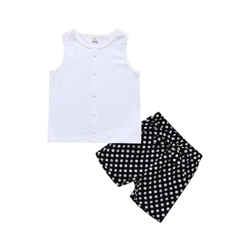 2-Piece White Buttoned Front Tank Top Matching Polka Dots Shorts Outfit