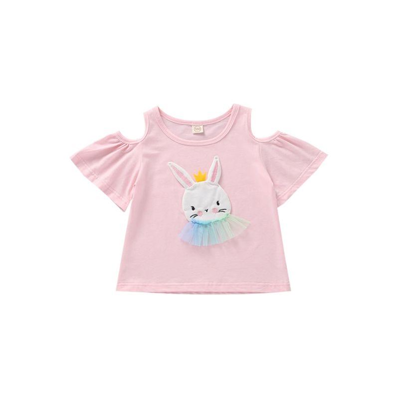 ec1daea916e0 Wholesale Bunny Applique Off Shoulder Pink T-shirt