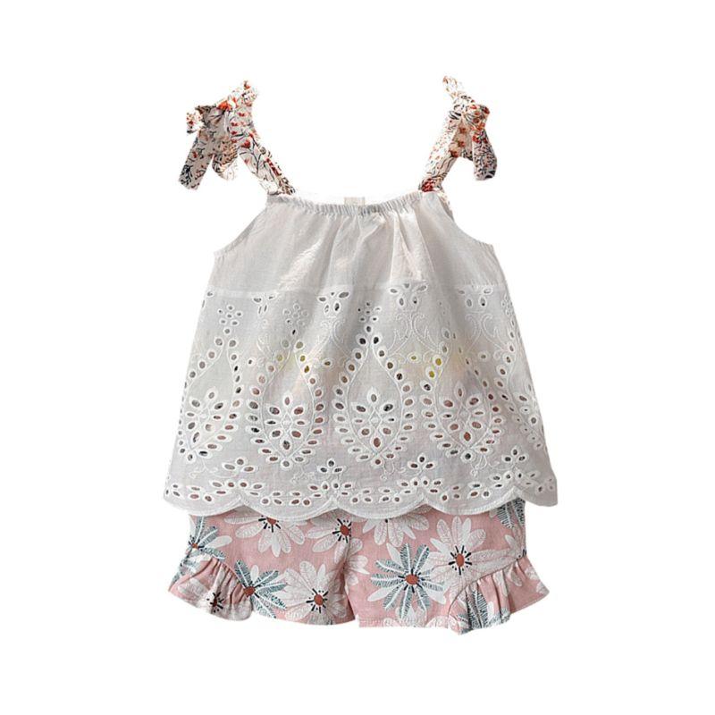 2-Piece Fashion Pierced Top Matching Ruffle Flower Shorts Set