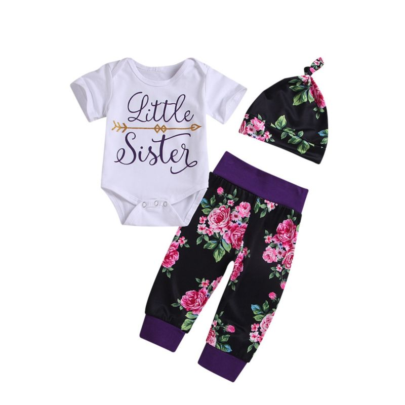 87f7bbc6c06bc 3-Piece Summer Baby Girl Clothes Outfit Little Sister Bodysuit+Flower  Trousers+Hat