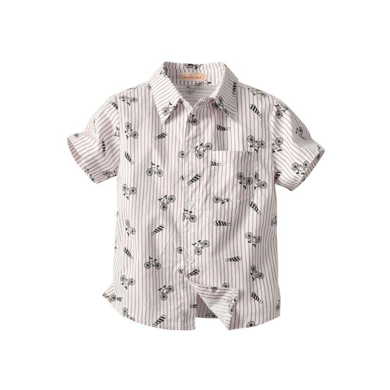 Bicycle Stripe Turn-down Collar Shirt