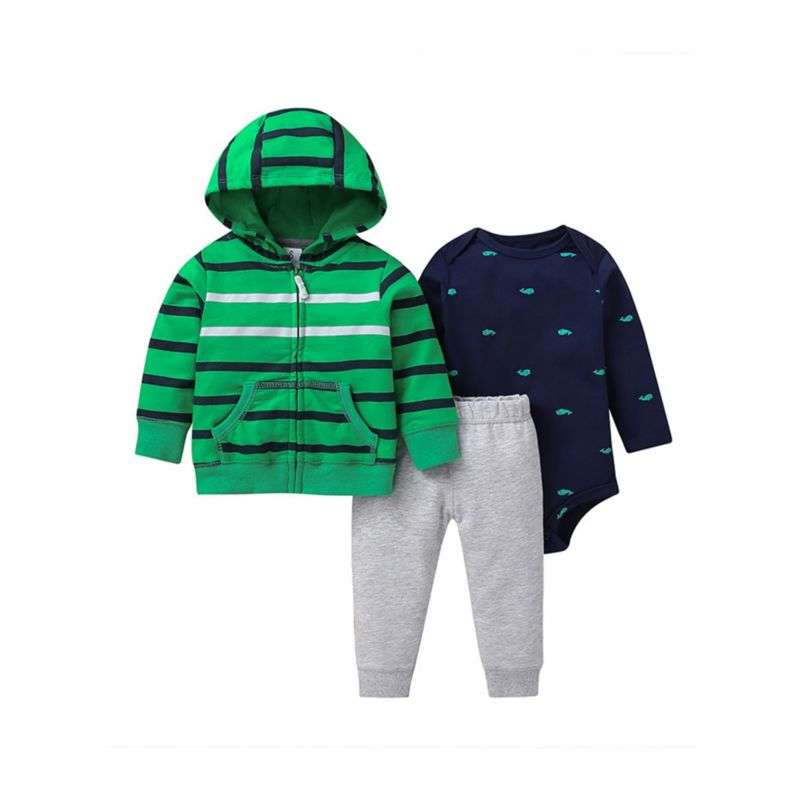 3-Piece Fall Baby Boy Hoodie Jacket & Trousers & Playsuit Set