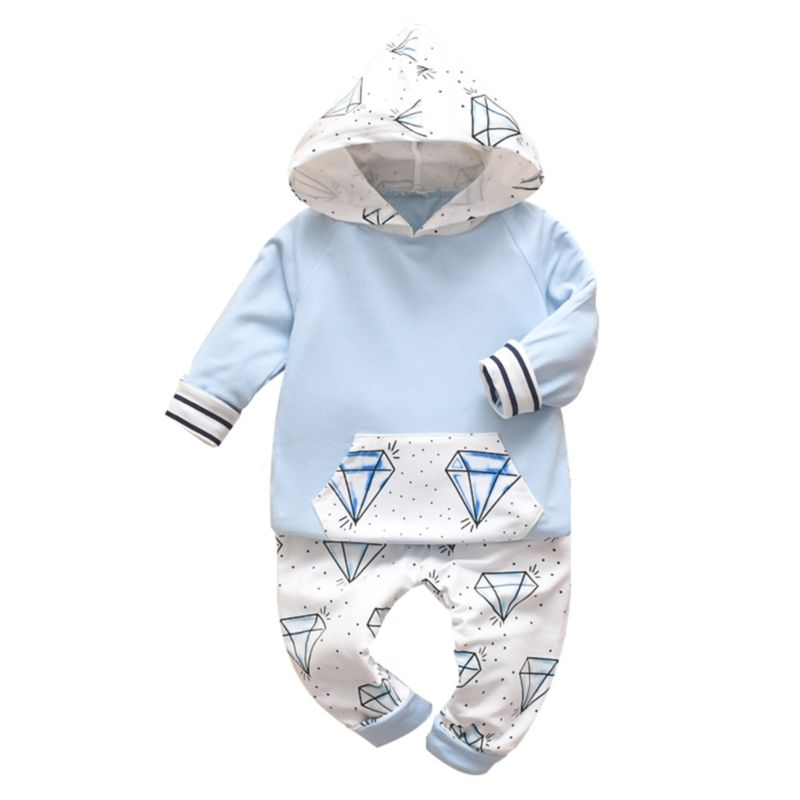 2-Piece Fall Baby Diamond Hoodie & Pants Set