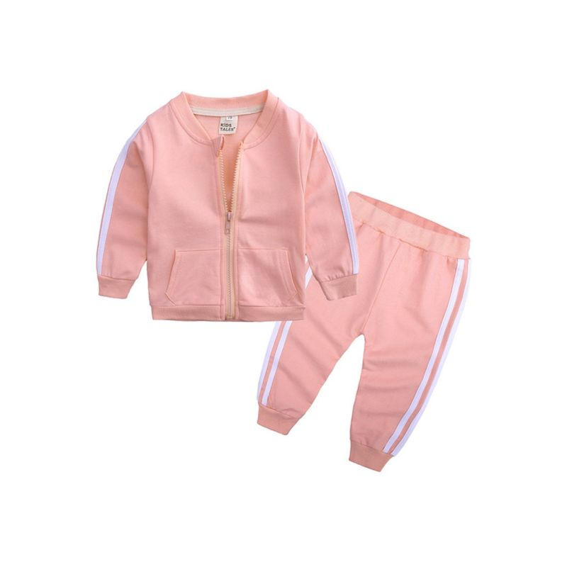 2-Piece Fall Baby Stripe Tracksuit Zip Jacket & Pants