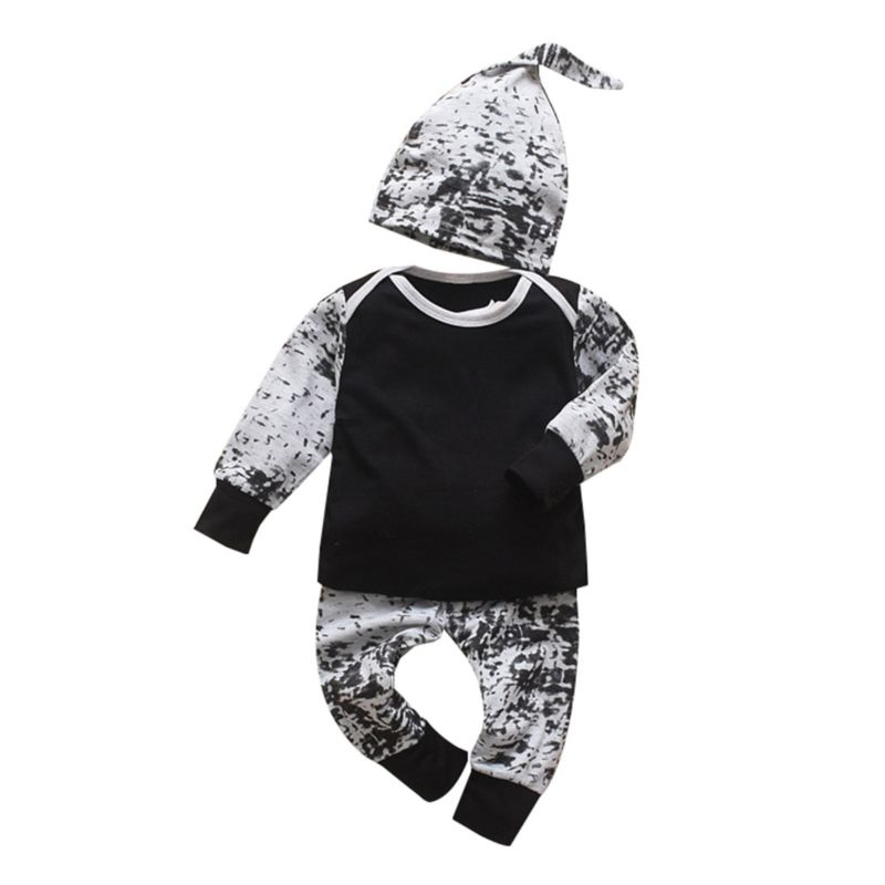 3-Piece Fall Baby Boy Clothes Outfits Tee+Pants+Hat