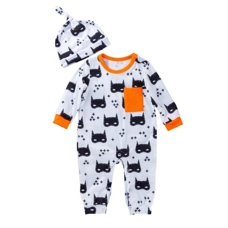 2-Piece Halloween Theme Baby Jumpsuit Matching Hat