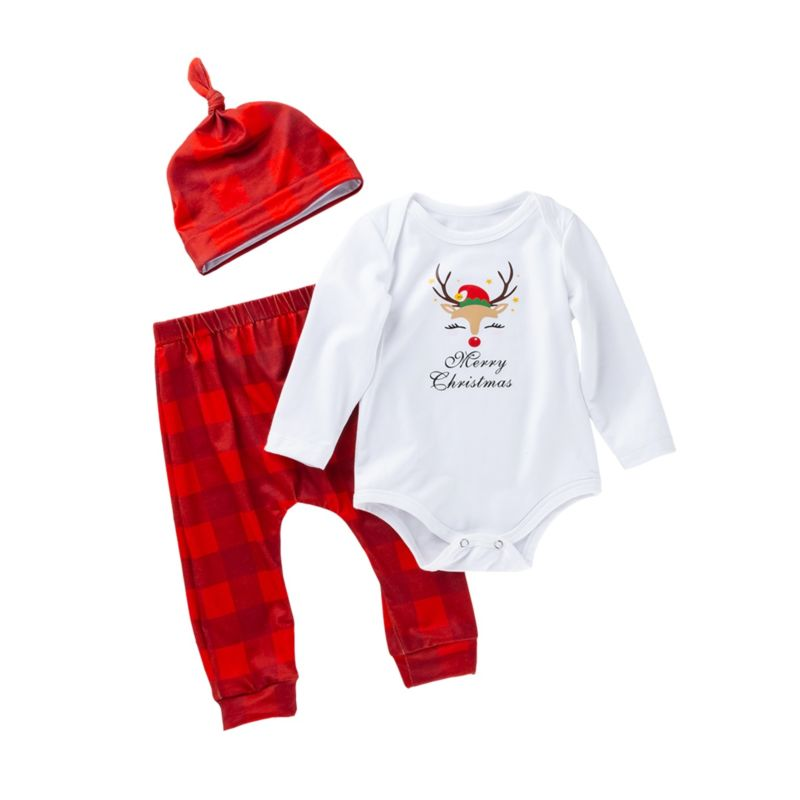3-Piece Christmas Baby Clothes Outfit Reindeer Bodysuit+Plaid Pants+Hat