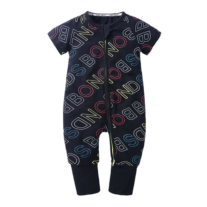 Summer Printed Baby Zip Jumpsuit