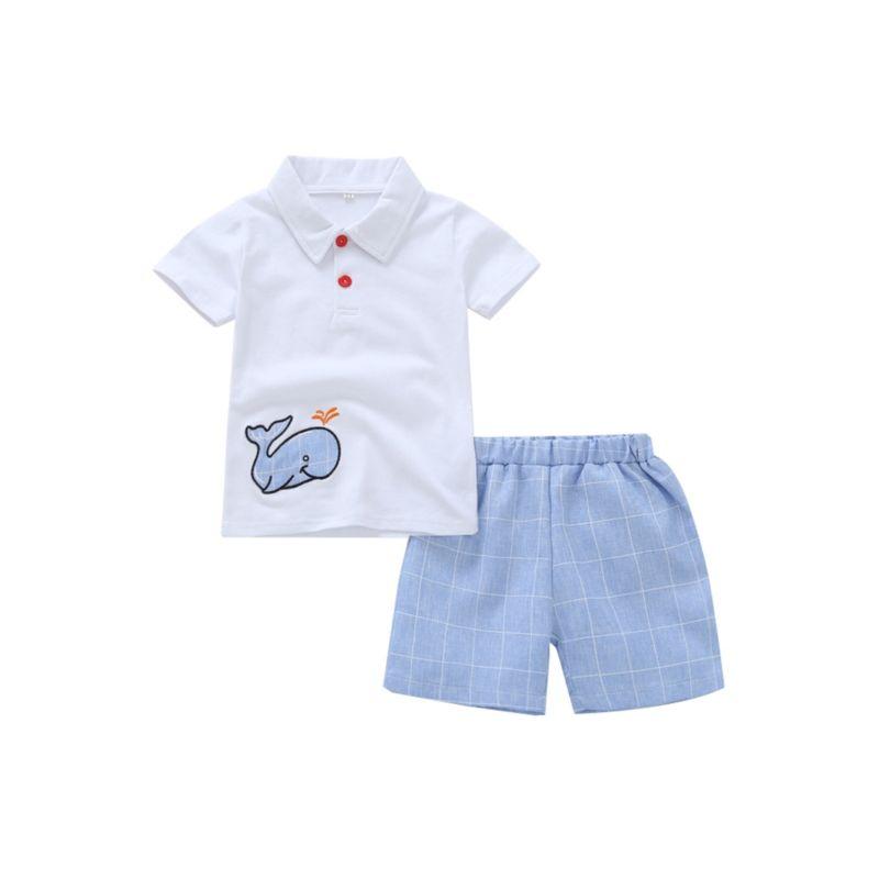 2-Piece Baby Toddler Boy Dolphin Tee Matching Shorts Set