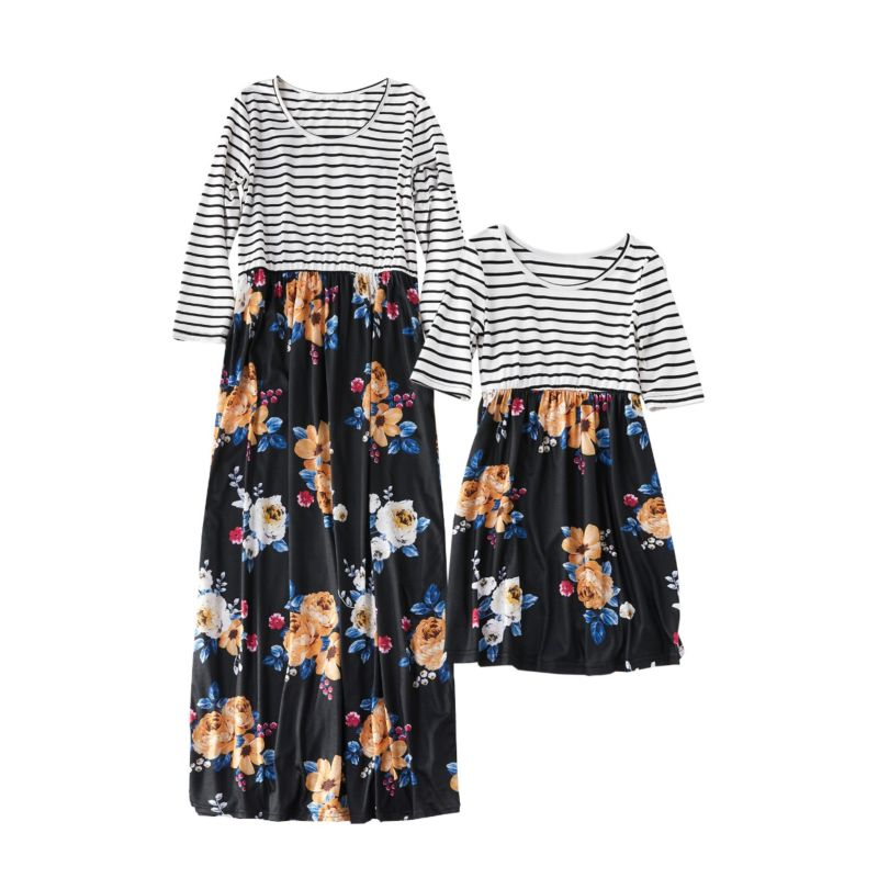 Mommy and Me Stripe Flower Patchwork Casual Dress