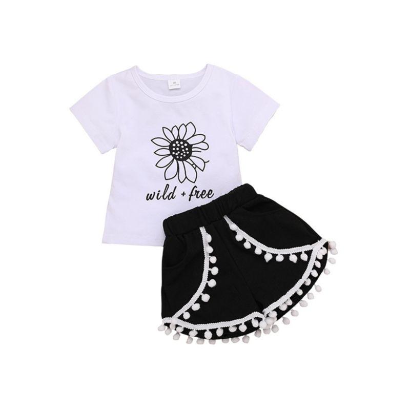 2-Piece Flower Tee & Pom-trim Shorts Set
