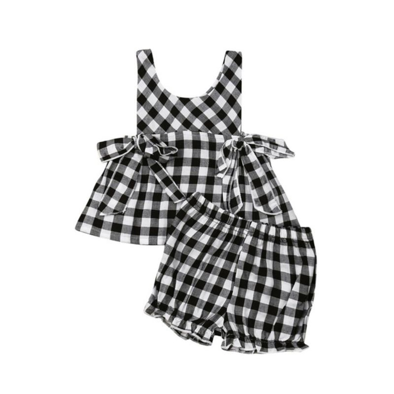 2-Piece Baby Girl Plaid Clothes Outfit Top Matching Shorts