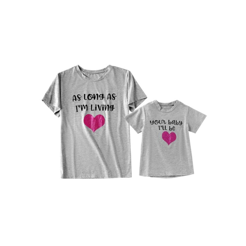 Mommy and Me Letters Print Love Heart Gray Tee