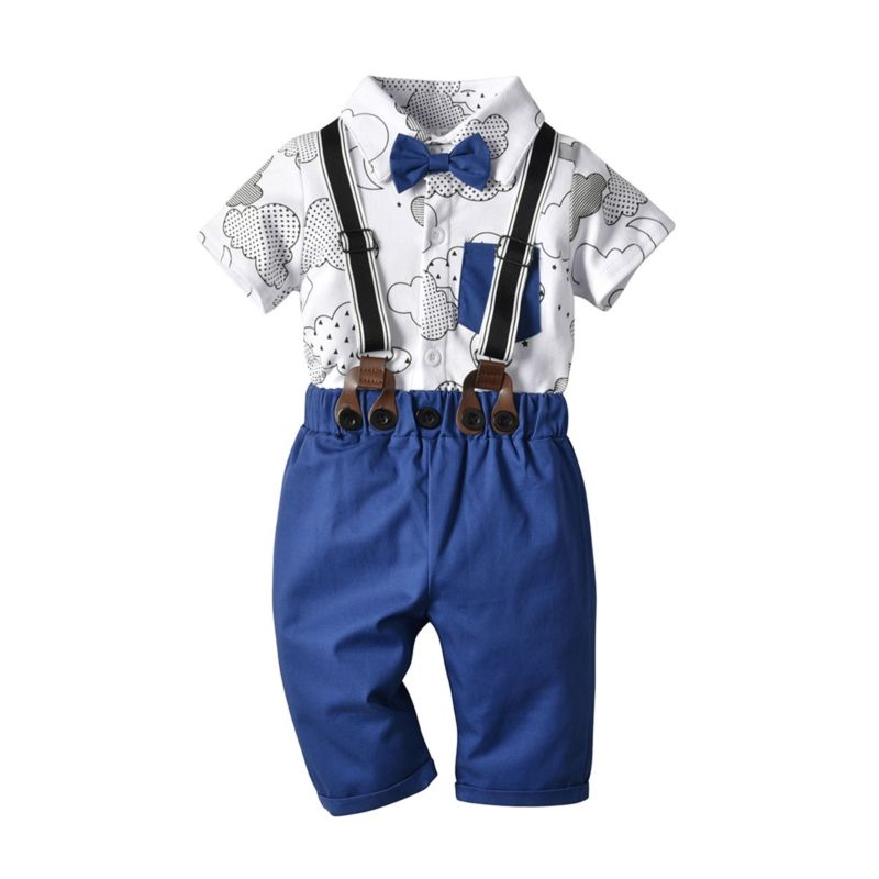 4-Piece Baby Toddler Boy Clothes Outfits  Turn-down Collar Cloud Bodysuit with Bow Tie Matching Suspender Pants