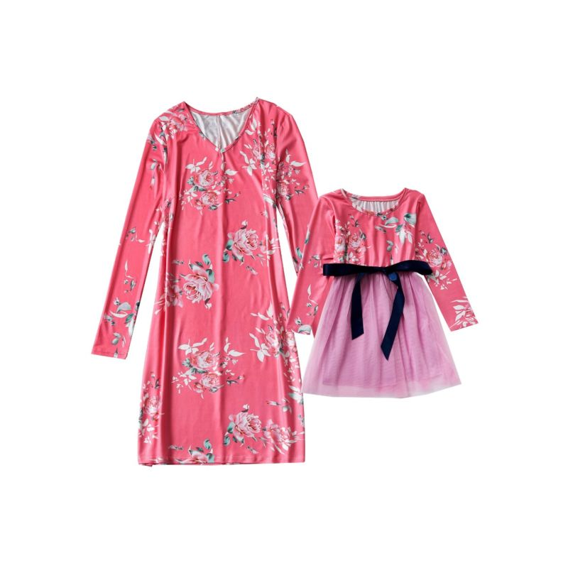 Mom and Me Flower Print Dress Long-sleeved