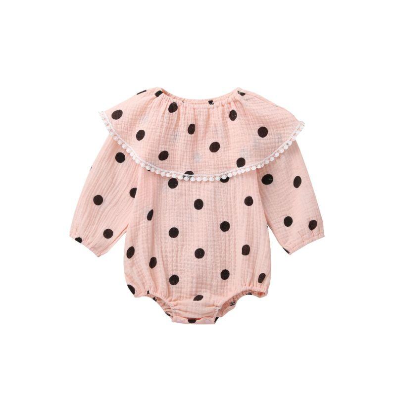 2-Piece Autumn Polka Dots Baby Muslin Romper Matching Shawl