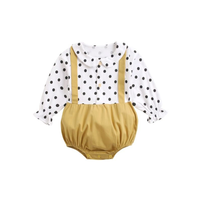 Baby Girl Peter Pan Collar Polka Dots Romper Long-sleeved