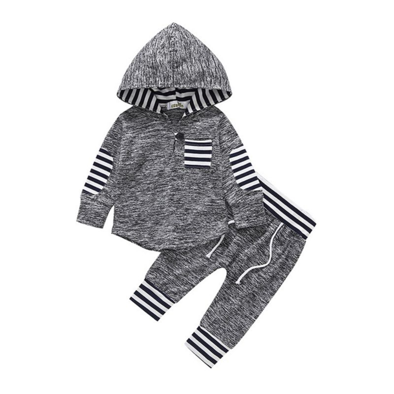 2-Piece Autumn Baby Boy Tracksuit Hoodie Matching Pull -on Pants