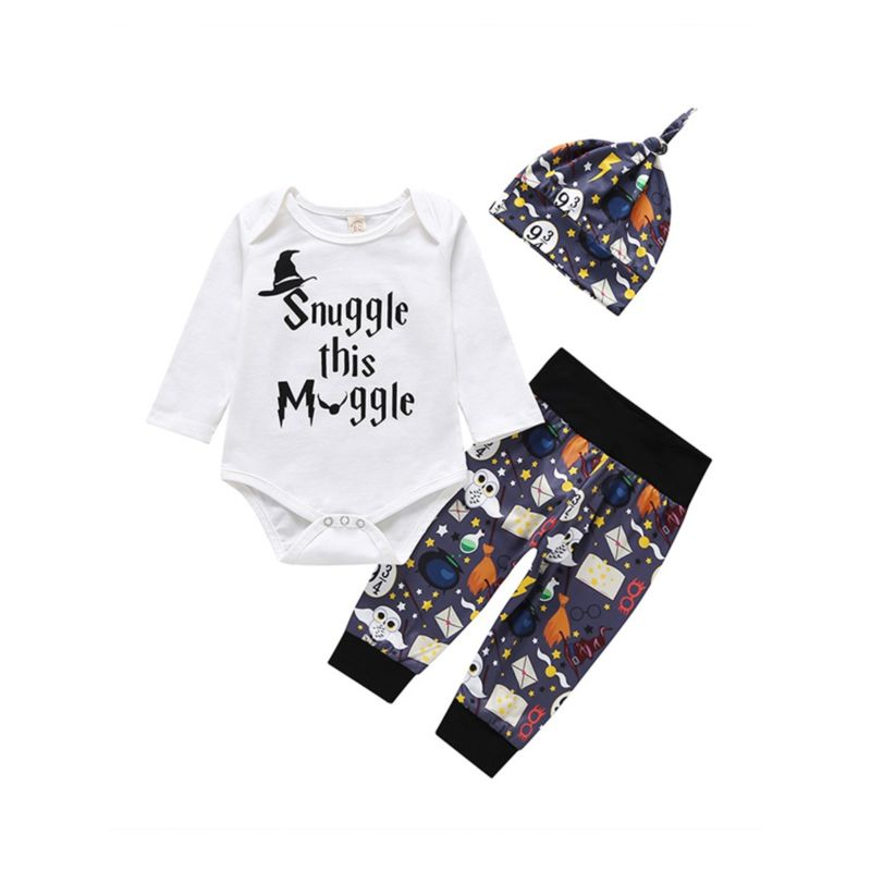 3-Piece Baby Halloween Clothes Outfit Bodysuit+Trousers+Hat