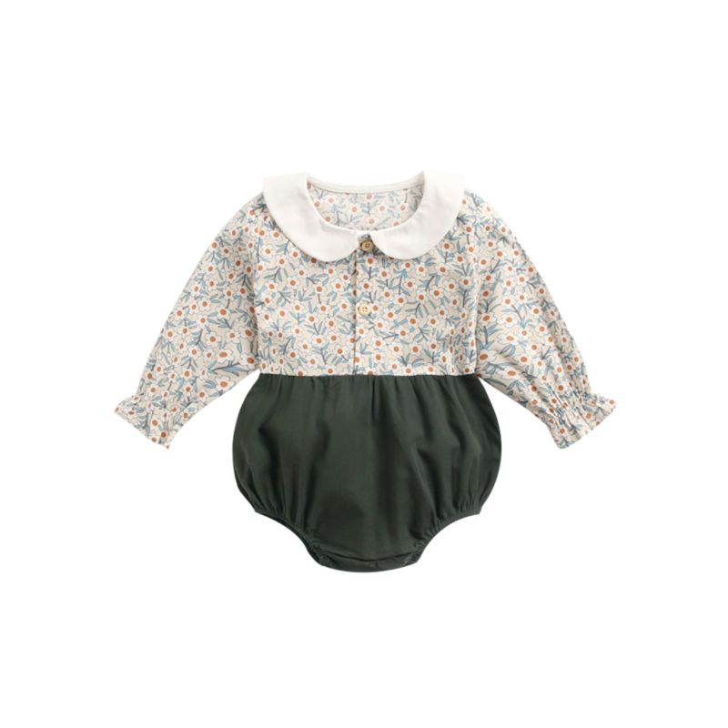 Fall Baby Girl Peter Pan Collar Floral Bodysuit