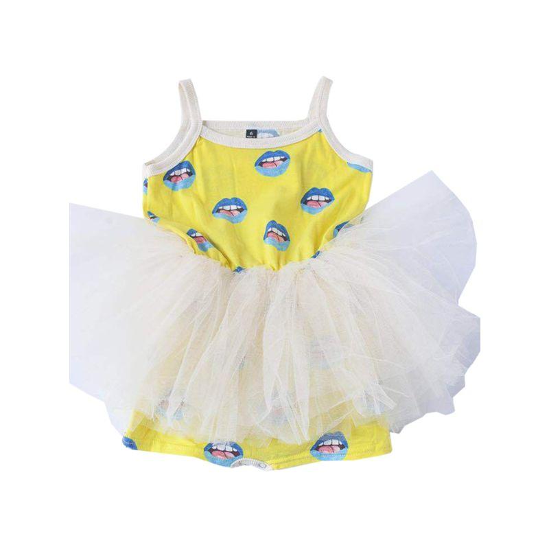 Lip Print Mesh Dress