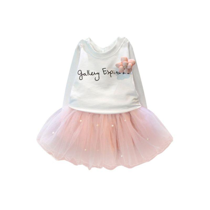 2-Piece Autumn White Jumper & Pink Beaded Mesh Skirt