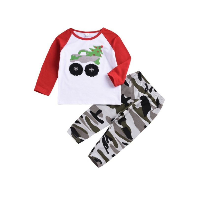 2-Piece Baby Toddler Boy Color-blocking Tee & Camo Trousers Pants Set