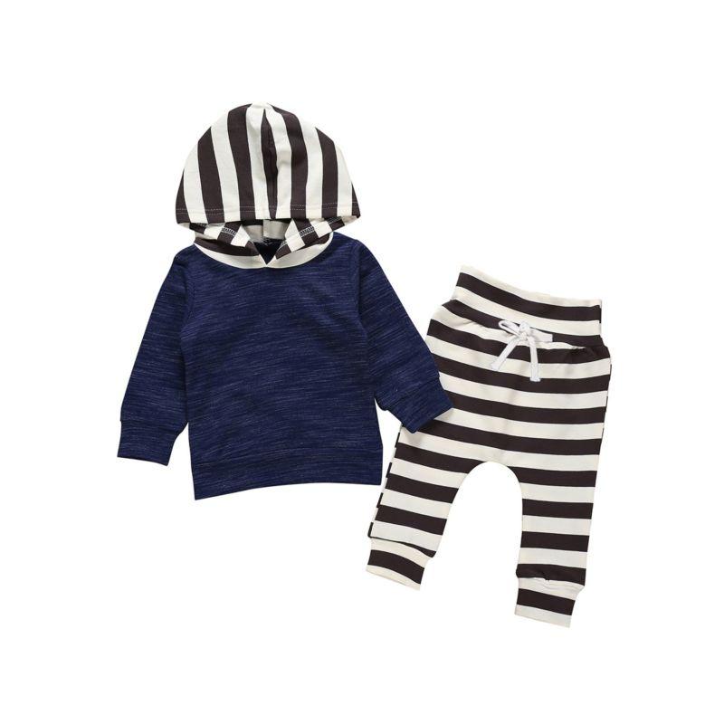 2-Piece Autumn Baby Toddler Kids Hoodie & Stripe Cropped Pants Set