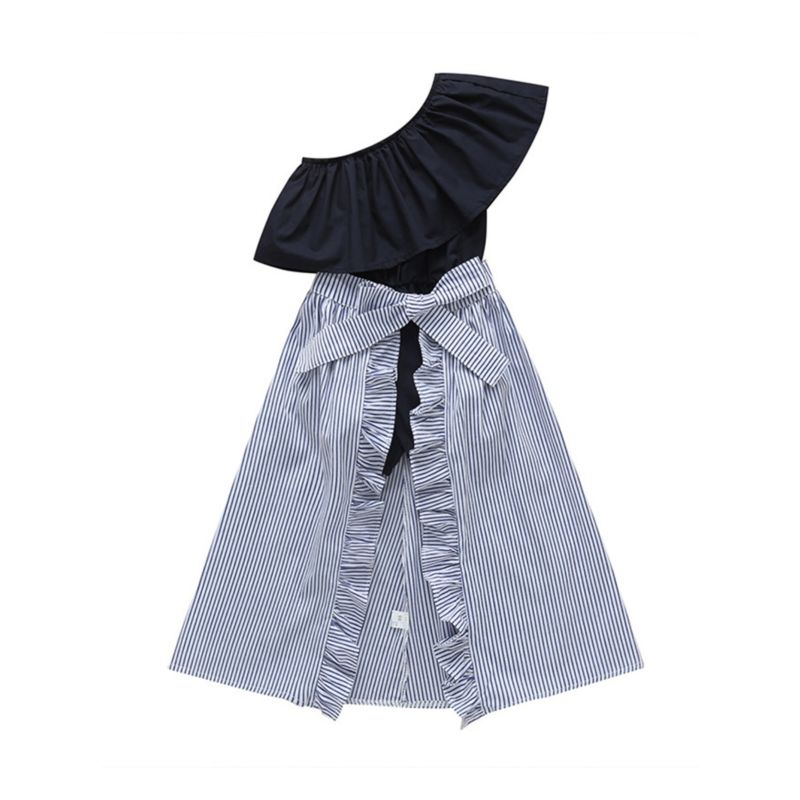 2-Piece Toddler Little Girl One Shoulder Jumpsuit Matching Pinstripe Ruffle Skirt Wrap