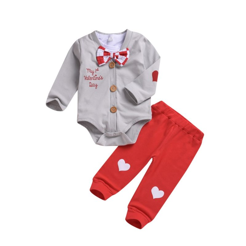 3-Piece Baby Boy My 1st Valentine's Day Outfits Body Bodysuits & Pants