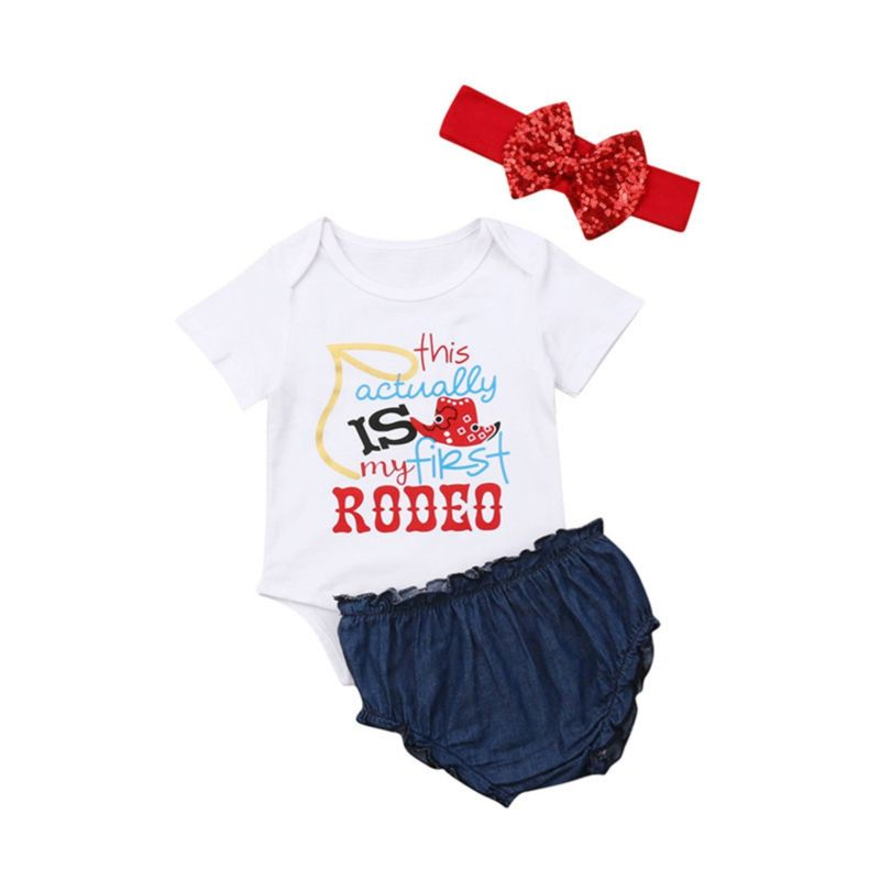 3-Piece Summer Baby Girl Clothes Outfits Bodysuit+Ruffle PP Shorts+Sequins Headband