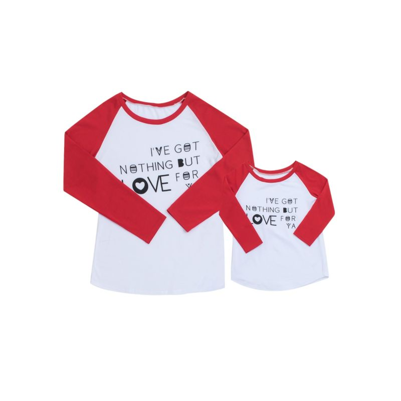 Mommy and Me Color Blocking T-shirt Long-sleeved