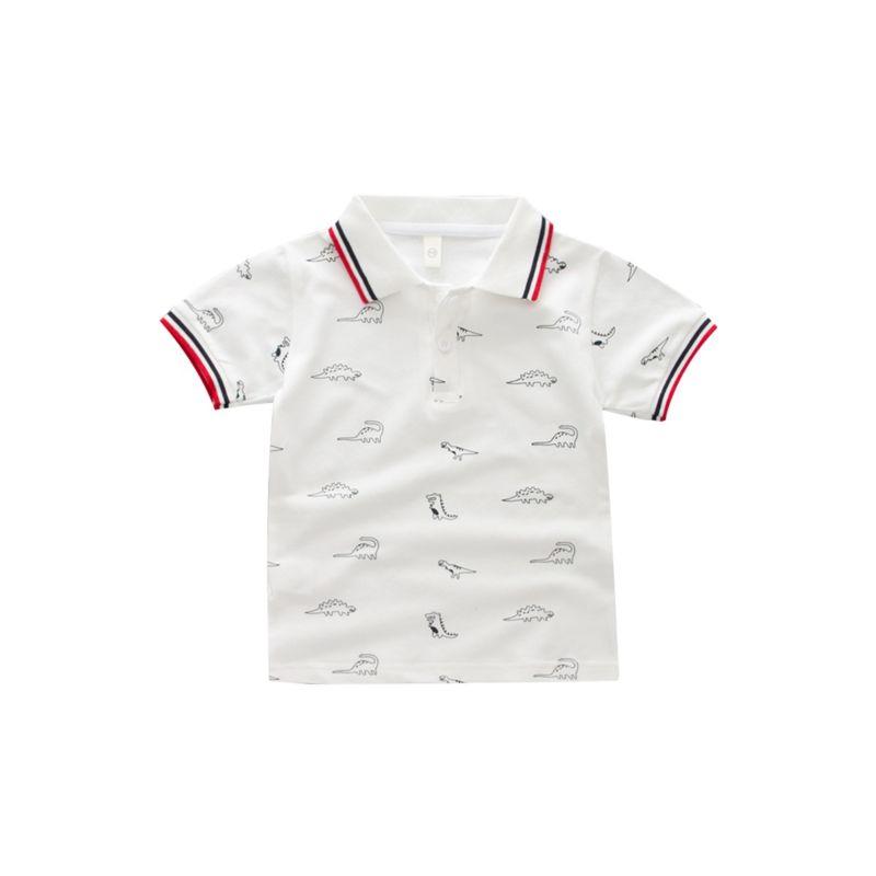 Toddler Little Boy Allover Print Dinosaur Polo T-shirt