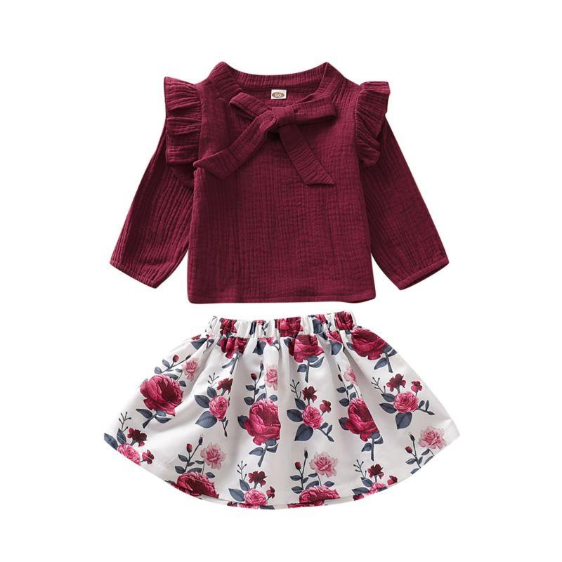 2-Piece Fall Bow Flutter Sleeve Muslin Top & Flower Skirt Set