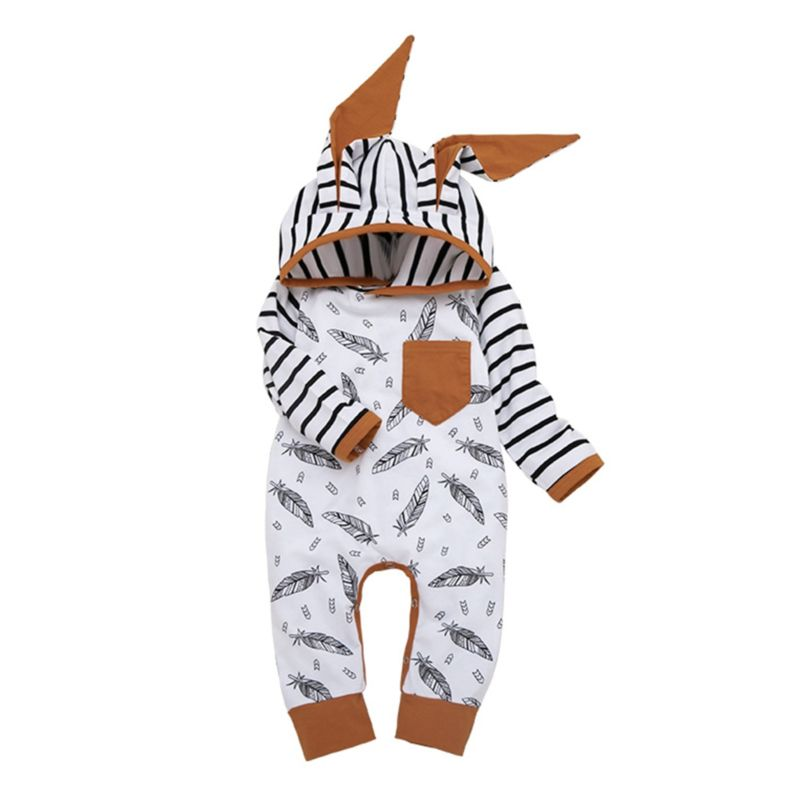 Feather Stripe Ear Hooded Baby Jumpsuit