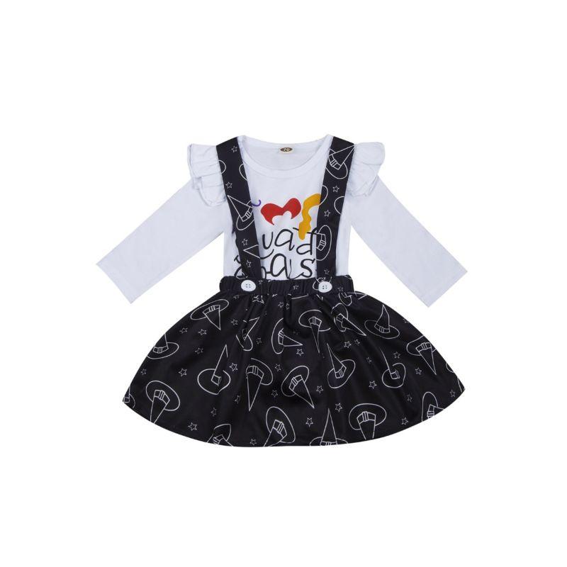 2-Piece Baby Girl Halloween Clothes Outfits Flutter Sleeve Bodysuit+Jumper Skirt