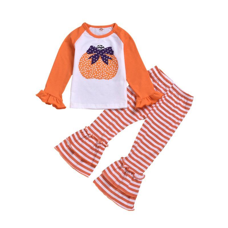 2-Piece Baby Toddler Girl Halloween Pumpkin Tee & Stripe Ruffle Icing Bell-bottom Pants Set