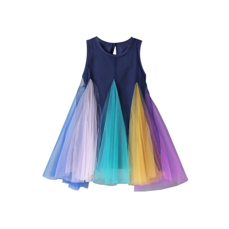 Rainbow Color Mesh Trim Sleeveless Dress
