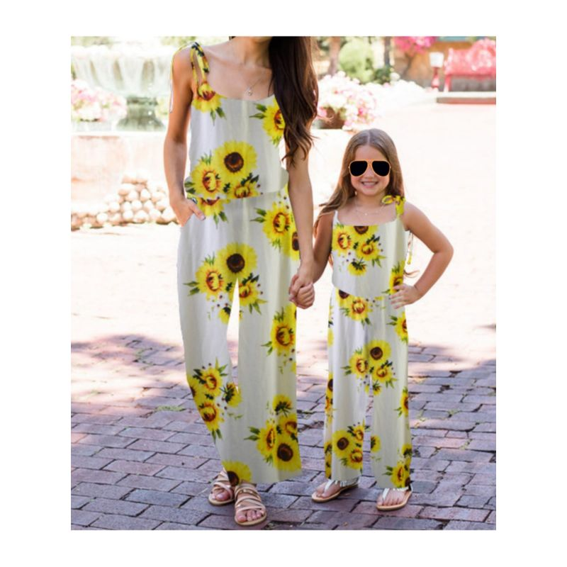 Mommy and Daughter Summer Sunflower Jumpsuit